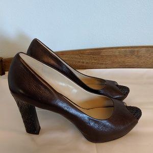 "Naturalizer peep toes brown leather 4"" heels"